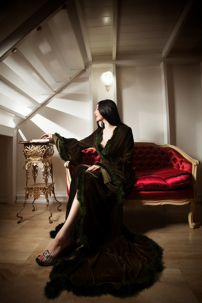 Medieval velvet and feathers plus size dressing gown