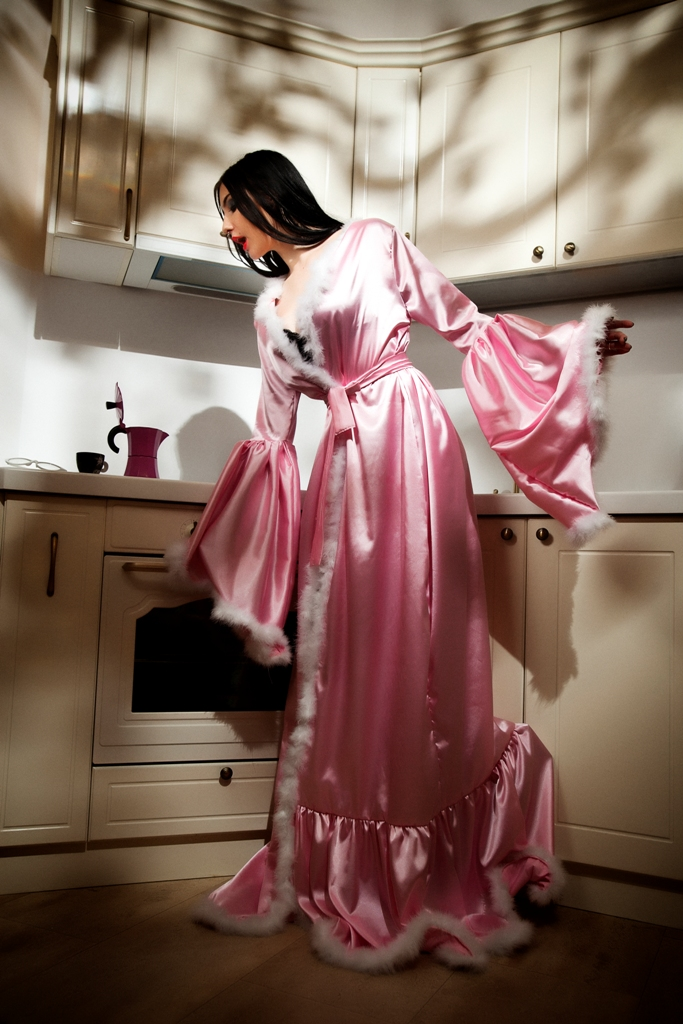 Pink silk satin feathers robe
