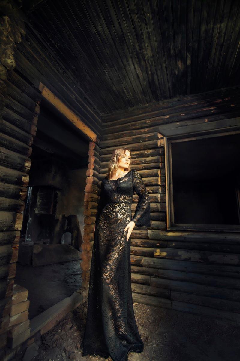Long black lace boho elegant dressing gown