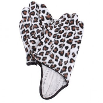 Animal print half palm gloves