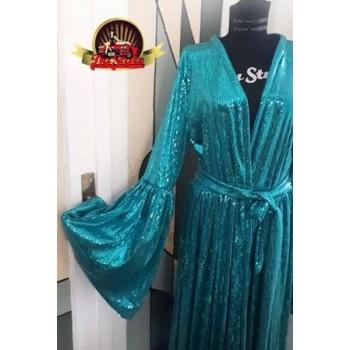 Aqua Sequins Kimono Robe Dress